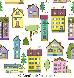 Background with colorful houses - Hand-painted multi-colored...