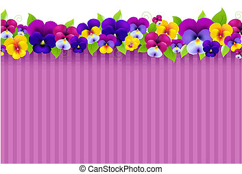 Background With Colorful Pansies, With Gradient Mesh, Vector