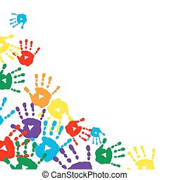 Background with colorful prints of children's palms