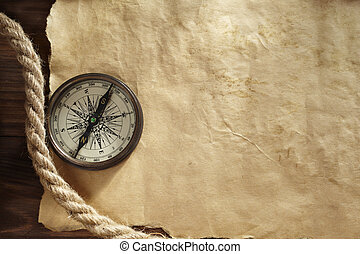 background with compass - old paper texture for text,map or...