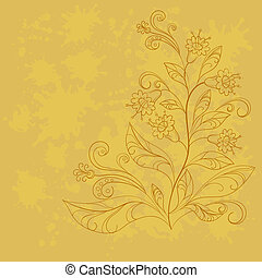 Background with contours of flowers