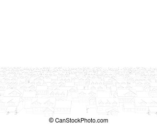 Background with contours of houses from black lines on a white background. Vector illustration