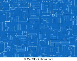 Background with contours of houses. View from above. Vector illustration