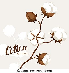 Background with cotton bolls and branches. Stylized...