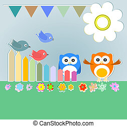 Background with couple of owls and birds