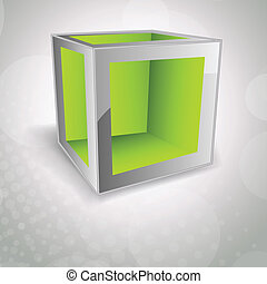 Background with cube - Bright modern background with green...
