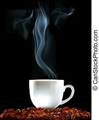 Background with cup of coffee and coffee grains Vector...
