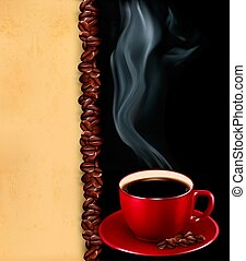 Background with cup of coffee and old paper.Vector. -...