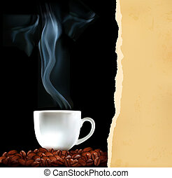 Background with cup of coffee