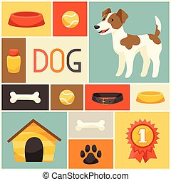 Background with cute dog, icons and objects.