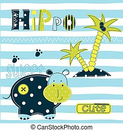Background with cute hippo.eps