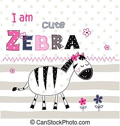 Background with cute zebra with floral elements and...