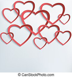 Background with cutting paper 3d hearts