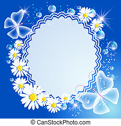 Background with daisy, butterfly and frame