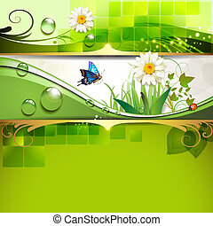 Background with daisy - Green background with daisy and...