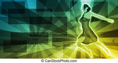 Background with Dancing Girl