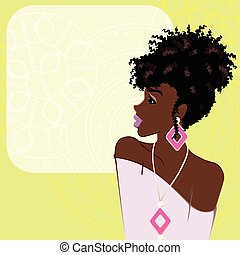 Illustration of a beautiful, dark-skinned woman with natural hair against a bright green background. Graphics are grouped and in several layers for easy editing. The file can be scaled to any size.