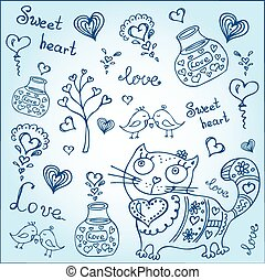 background with different cute animals and objects - vector ...