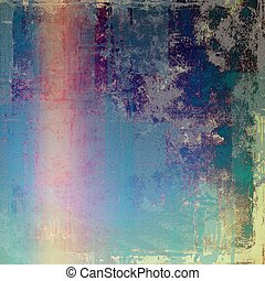 Background with dirty grunge texture, vintage style elements and different color patterns: yellow (beige); blue; red (orange); purple (violet); pink