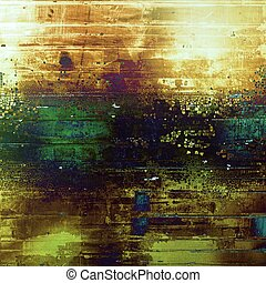 Background with dirty grunge texture, vintage style elements and different color patterns: yellow (beige); brown; black; blue; green; purple (violet)