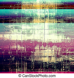 Background with dirty grunge texture, vintage style elements and different color patterns: yellow (beige); green; blue; purple (violet); pink; cyan