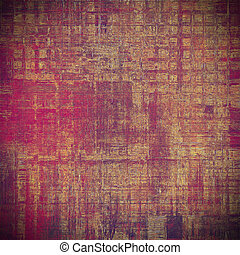 Background with dirty grunge texture, vintage style elements and different color patterns: yellow (beige); brown; red (orange); purple (violet); pink