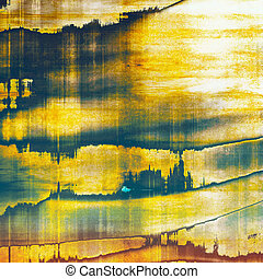 Background with dirty grunge texture, vintage style elements and different color patterns: yellow (beige); brown; blue; white