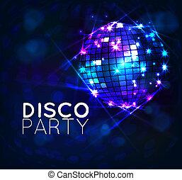 background with disco ball,banner , vector design disco party