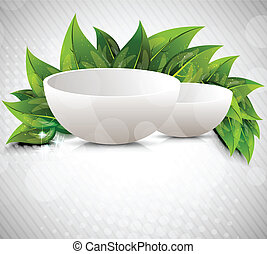 Background with drinking bowl and leaves
