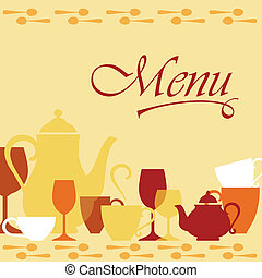 Background with dishware for menu cover design