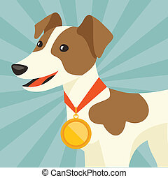 Background with dog champion winning gold medal.