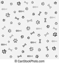 Background with dog paw print, bone - Background with dog ...