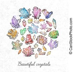 Background with doodle sketch crystals. Collection of minerals on rice paper background