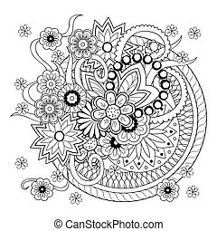 background with doodle tangle flowers and mandalas - ...