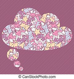 Background with doodle. Vector cute kawaii illustration