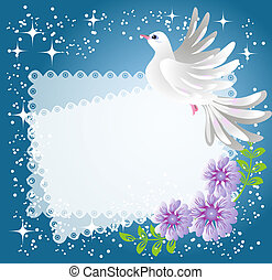 Background with dove and flowers - Magic background with ...
