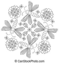Background with dragonfly and flower. Design for adults and older children coloring book page.