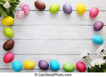 Background with eggs. Top view