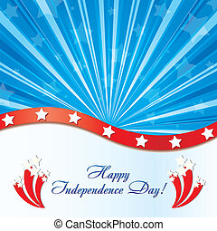 Background with elements of USA flag with congratulations and fireworks, vector illustration
