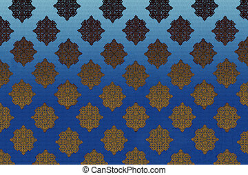background with embroidered Ukrainian pattern of blue and beige
