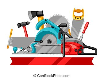 Background with equipment and tools for forestry and lumber...