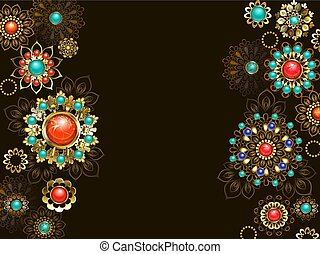 Background with ethnic ornaments - dark background is...