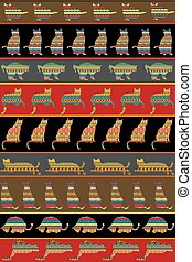 Background with ethnic ornaments patterned cats
