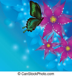 Background with exotic flowers and butterfly