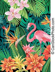 Background with exotic tropical flowers