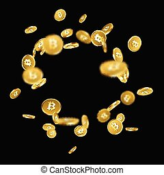 Background with falling gold bitcoins. - Black background...