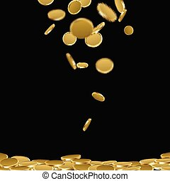 Background with falling gold coins.
