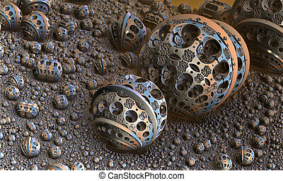 Background with fantastic 3D spheres, abstract fractal...
