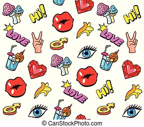 Background with fashion stickers