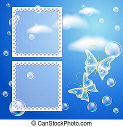 Background with fhoto frame and butterfly - Magic background...
